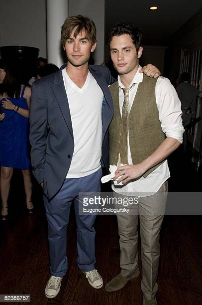 Actors Chase Crawford and Penn Badgley attend the Hamptons bash hosted by Vitaminwater at the EMM Group Estate for the CW network's 'Gossip Girl'...