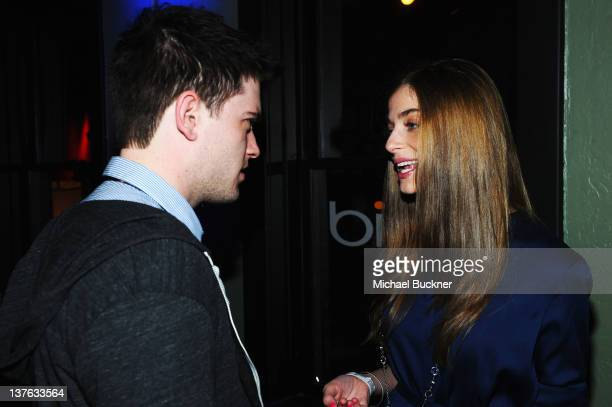Actors Chase Williamson and Allison Weissman attend The Official 'John Dies At The End' Cast Cocktail Party presented by Bing at The Bing Bar on...