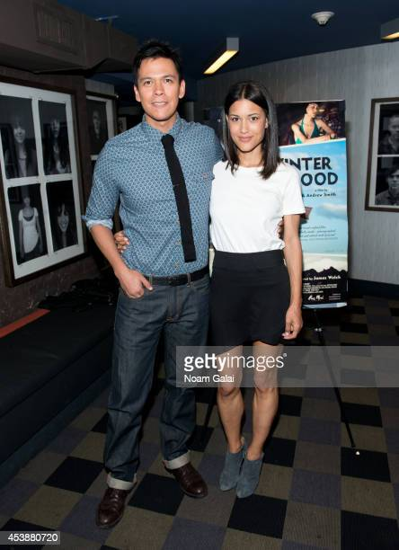 "Actors Chaske Spencer and Julia Jones attend the ""Winter In The Blood"" New York Premiere at IFC Center on August 20, 2014 in New York City."