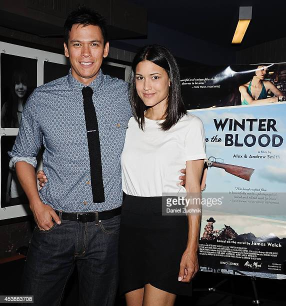 Actors Chaske Spencer and Julia Jones attend the 'Winter In The Blood' New York Premiere at IFC Center on August 20 2014 in New York City