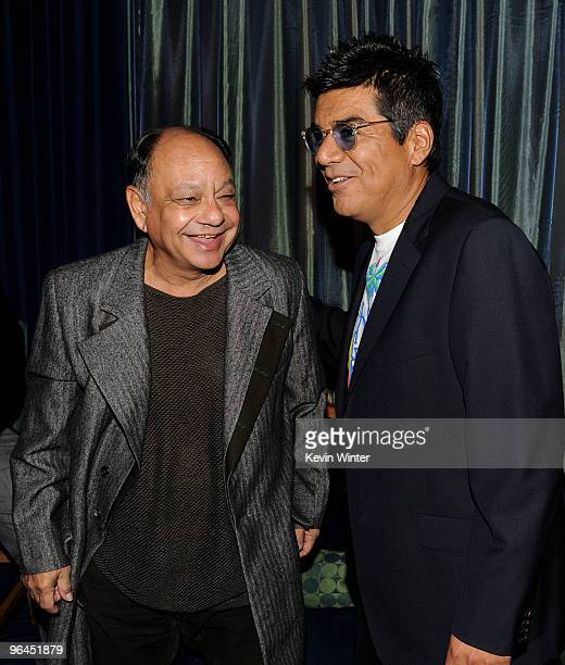 Actors Cheech Marin and George Lopez talk backstage at Help Haiti with George Lopez Friends at LA Live's Nokia Theater on February 4 2010 in Los...