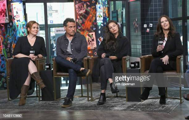 Actors Chelah Horsdal Rufus Sewell Alexa Davalos and Isa Hackett attend the Build Series to discuss 'The Man in the High Castle' attends the Build...