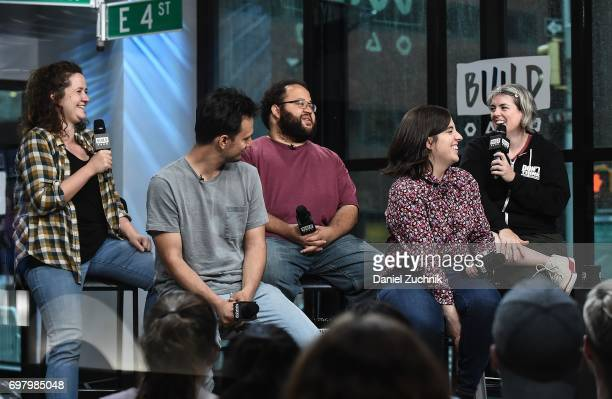 Actors Chelsea Clarke Michael Cruz Kayne Zach Cherry Abra Tabak and Shannon O'Neill members of the Upright Citizens Brigade Theatre visit Build to...