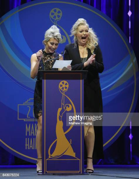 Actors Chelsea Kane and Melissa Peterman speak onstage at the 2017 MakeUp Artists and Hair Stylists Guild Awards at The Novo by Microsoft on February...
