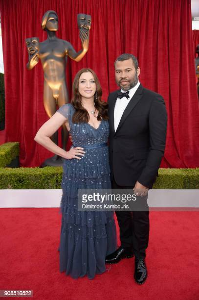 Actors Chelsea Peretti and Jordan Peele attend the 24th Annual Screen Actors Guild Awards at The Shrine Auditorium on January 21 2018 in Los Angeles...