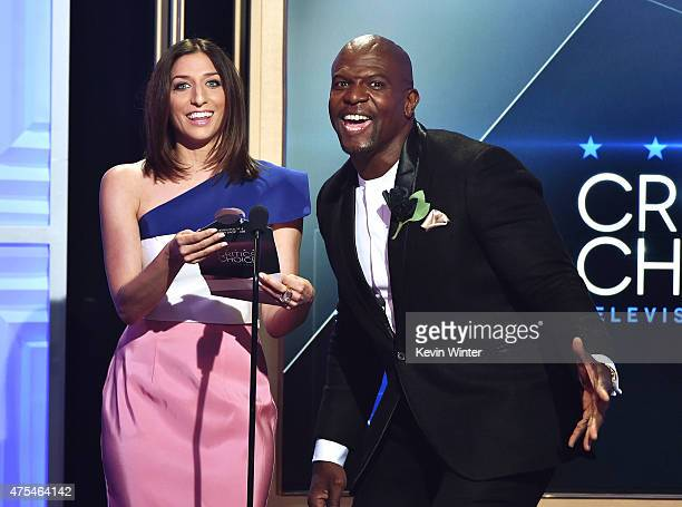 Actors Chelsea Peretti and Terry Crews speak onstage at the 5th Annual Critics' Choice Television Awards at The Beverly Hilton Hotel on May 31 2015...