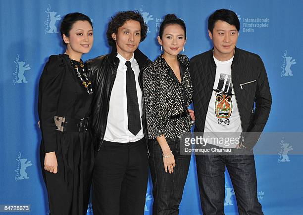 Actors Chen Hong Ando Masanobu Zhang Ziyi and Leon Lai attend the Forever Enthralled photocall during the 59th Berlin International Film Festival at...