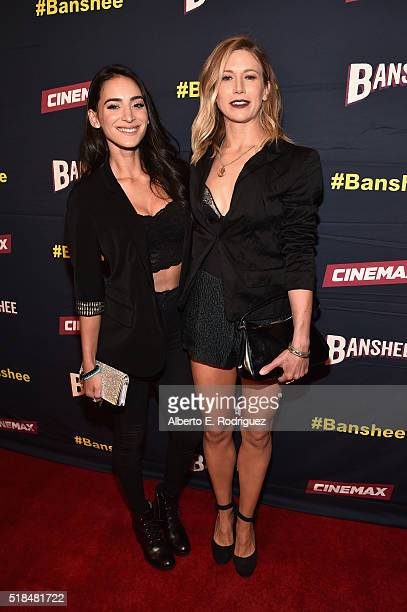 Actors Cherie Jimenez and Jennifer Landon attend the premiere of Cinemax's Banshee 4th Season at UTA on March 31 2016 in Beverly Hills California