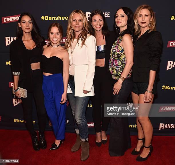 Actors Cherie Jimenez Ryann Shane Tanya Clarke Ana Ayora Eliza Dushku and Jennifer Landon attend the premiere of Cinemax's 'Banshee' 4th Season at...