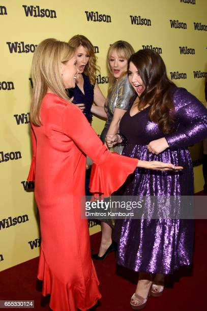 Actors Cheryl Hines Laura Dern Judy Greer and Isabela Amara attend the 'Wilson' New York Screening at the Whitby Hotel on March 19 2017 in New York...