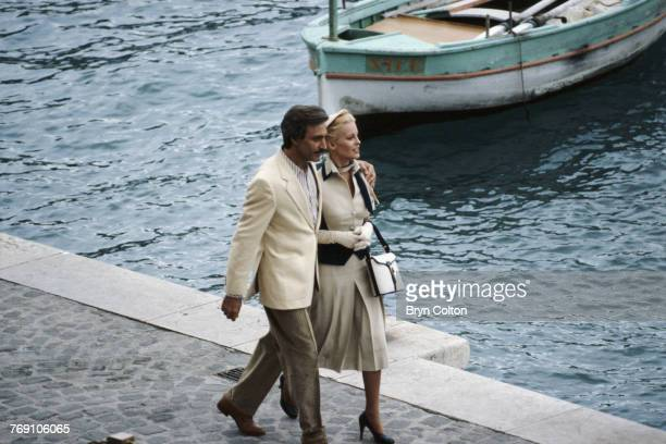 Actors Cheryl Ladd and Alejandro Rey in VillefranchesurMer France during filming of Anthony Page's TV movie 'The Grace Kelly Story' circa 1982 They...