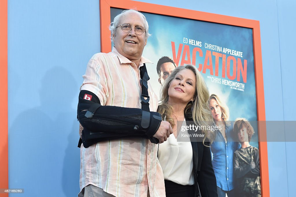 Actors Chevy Chase and Beverly D'Angelo attend the premiere of Warner Bros. Pictures 'Vacation' at Regency Village Theatre on July 27, 2015 in Westwood, California.
