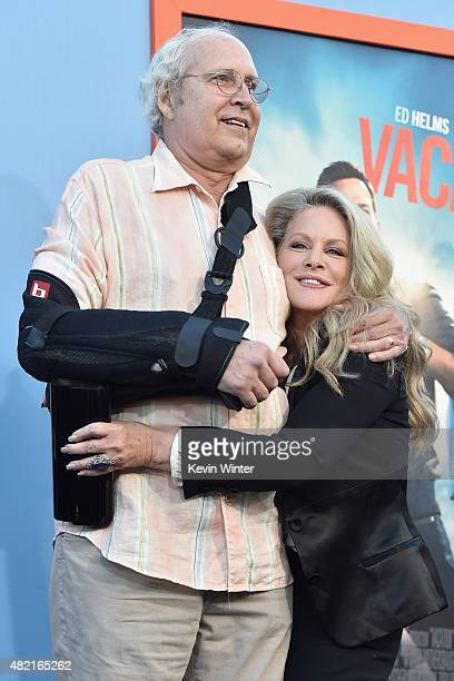 "Actors Chevy Chase and Beverly D'Angelo attend the premiere of Warner Bros. Pictures ""Vacation"" at Regency Village Theatre on July 27, 2015 in..."
