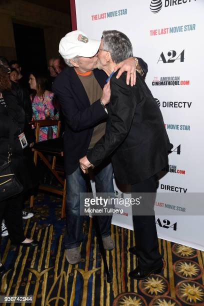 Actors Chevy Chase and Burt Reynolds attend the Los Angeles premiere of The Last Movie Star at the Egyptian Theatre on March 22 2018 in Hollywood...