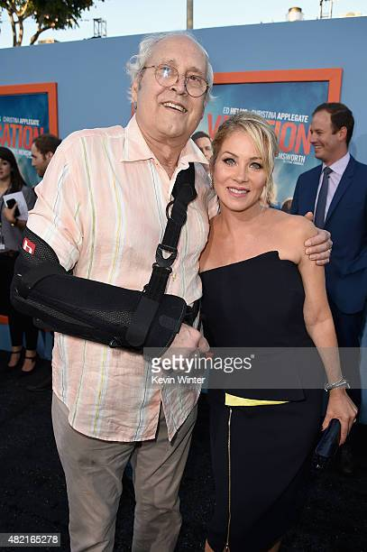 "Actors Chevy Chase and Christina Applegate attend the premiere of Warner Bros. Pictures ""Vacation"" at Regency Village Theatre on July 27, 2015 in..."