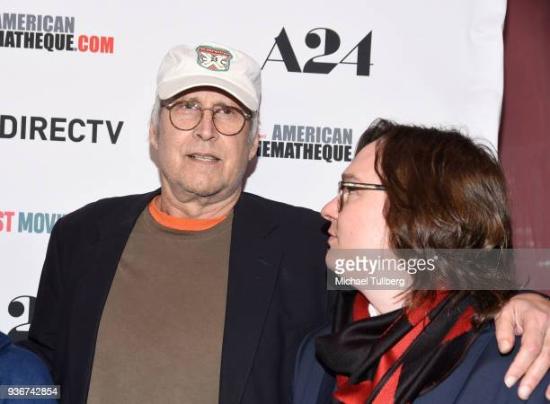 Actors Chevy Chase and Clark Duke attend the Los Angeles premiere of The Last Movie Star at the Egyptian Theatre on March 22 2018 in Hollywood...