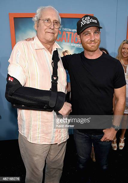 Actors Chevy Chase and Ethan Embry attend the premiere of Warner Bros Pictures 'Vacation' at Regency Village Theatre on July 27 2015 in Westwood...