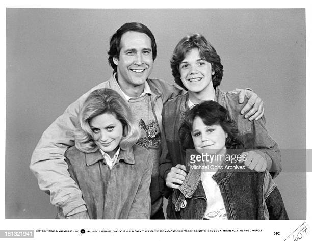 Actors Chevy Chase and Jason Lively with actresses Beverly D'Angelo and Dana Hill on set of the Warner Bros movie National Lampoon's European...