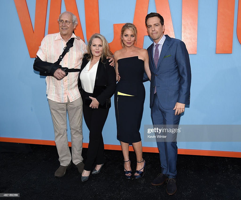 Actors Chevy Chase, Beverly D'Angelo, Christina Applegate and Ed Helms attend the premiere of Warner Bros. Pictures 'Vacation' at Regency Village Theatre on July 27, 2015 in Westwood, California.