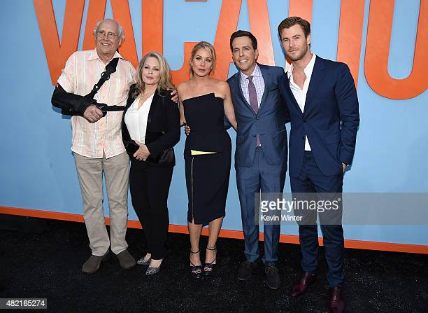 Actors Chevy Chase Beverly D'Angelo Christina Applegate Ed Helms and Chris Hemsworth attend the premiere of Warner Bros Pictures 'Vacation' at...