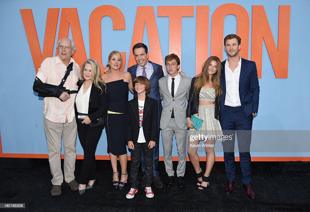 Actors Chevy Chase, Beverly D'Angelo, Christina Applegate, Ed Helms, Steele Stebbins, Skyler Gisondo, Catherine Missal and Chris Hemsworth attend the premiere of Warner Bros. Pictures 'Vacation' at Regency Village Theatre on July 27, 2015 in Westwood, California.