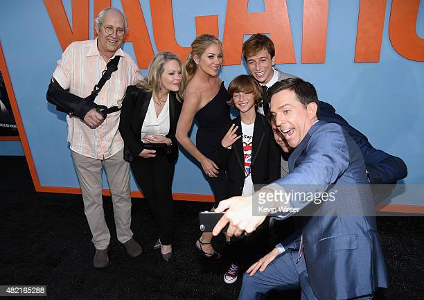 Actors Chevy Chase Beverly D'Angelo Christina Applegate Steele Stebbins Skyler Gisondo take a selfie with Ed Helms during the premiere of Warner Bros...