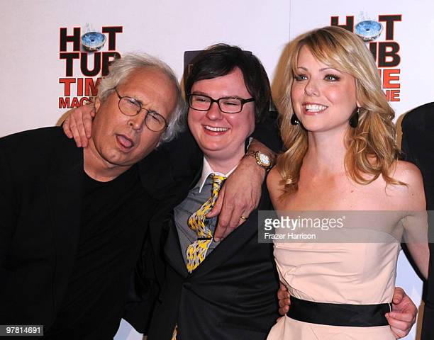 Actors Chevy Chase Clark Duke and Collette Wolfe arrive at the premiere of MGM United Artisits' Hot Tub Time Machine After Party at the Cabana Club...