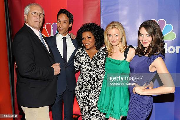 Actors Chevy Chase Danny Pudi Yvette Nicole Brown Gillian Jacobs and Alison Brie attend the 2010 NBC Upfront presentation at The Hilton Hotel on May...