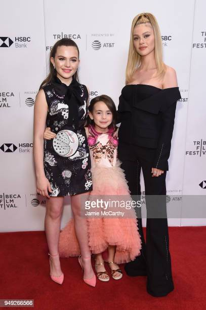 Actors Chiara Aurelia Hala Finley and Nicola Peltz attend the screening of 'Back Roads' during the Tribeca Film Festival at Cinepolis Chelsea on...