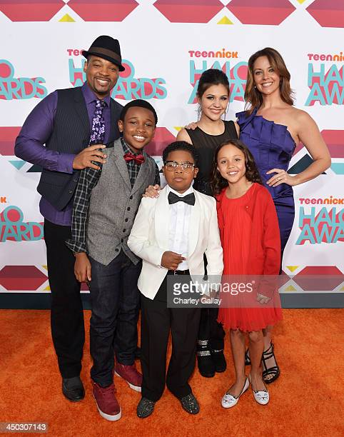 Actors Chico Benymon, Curtis Harris Jr., Amber Montana, Ginifer King, Breanna Yde, and Benjamin Flores Jr. Arrive at the 5th Annual TeenNick HALO...