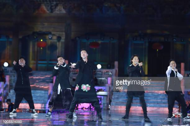 Actors Chin Kalok Jordan Chan SiuChun Michael Tse Tinwah Ekin Cheng and Jerry Lamb Hiufung perform onstage during the opening ceremony of the 4th...