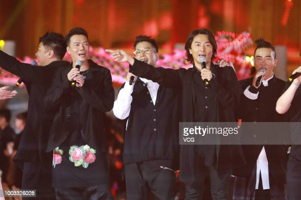 Actors Chin Kalok Michael Tse Tinwah Jerry Lamb Hiufung Ekin Cheng and Jordan Chan SiuChun perform onstage during the opening ceremony of the 4th...