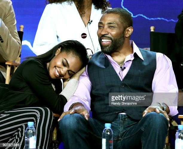 Actors China Anne McClain and Cress Williams of the television show 'Black Lightning' speak on stage during the CW portion of the 2018 Winter...