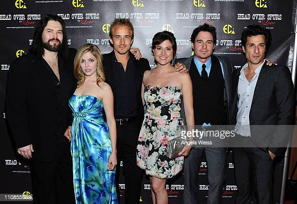 Actors Chip Joslin, Jen Lilley, Jesse Johnson, Leena Huff, Daniel Bonjour and Hal Ozsan arrive at the world premiere of 'Head Over Spurs In Love' at...