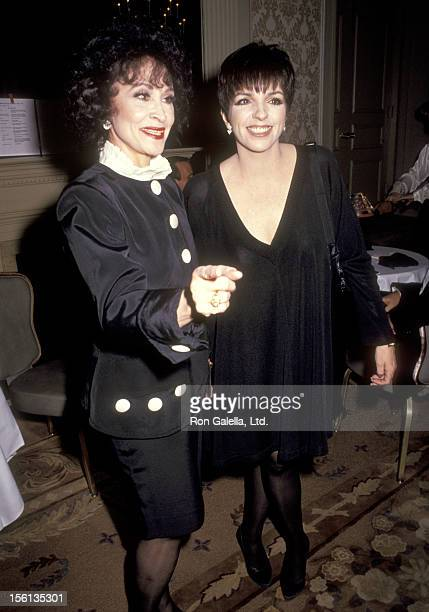 Actors Chita Rivera and Liza Minnelli attend The Drama League of New York Honors John Kaner and Fred Ebb on February 4 1991 at Pierre Hotel in New...