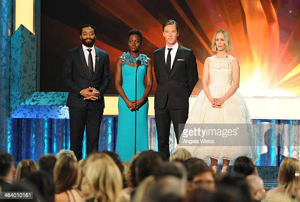Actors Chiwetel Ejiofor, Lupita Nyong'o, Beneditch Cumberbatch and Sarah Paulson speak on stage at the 20th Annual Screen Actors Guild Awards at The...