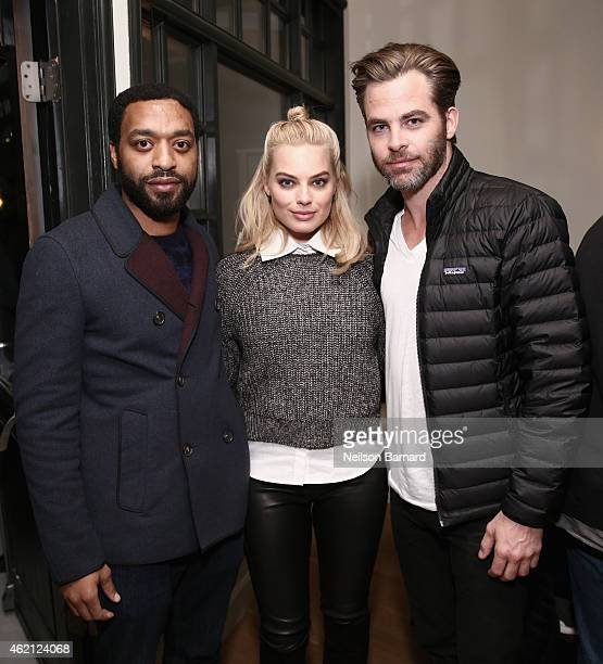 Actors Chiwetel Ejiofor Margot Robbie and Chris Pine attend the Z for Zachariah Dinner at The Acura Studio on January 24 2015 in Park City Utah