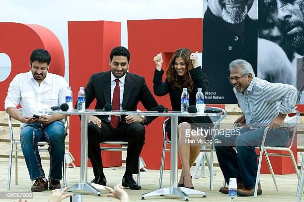 Actors Chiyaan Vikram Abhishek Bachchan Aishwarya Rai and director Mani Ratnam attend an audience meet and greet during day two of the Pusan...
