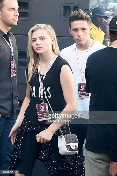Actors Chloë Grace Moretz and Brooklyn Beckham attend American Eagle Outfitters Celebrates The Budweiser Made in America Music Festival during day 2...
