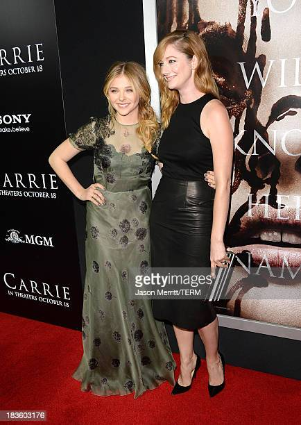 Actors Chloë Grace Moretz and Judy Greer arrive at the premiere of MetroGoldwynMayer Pictures Screen Gems' Carrie at ArcLight Cinemas on October 7...