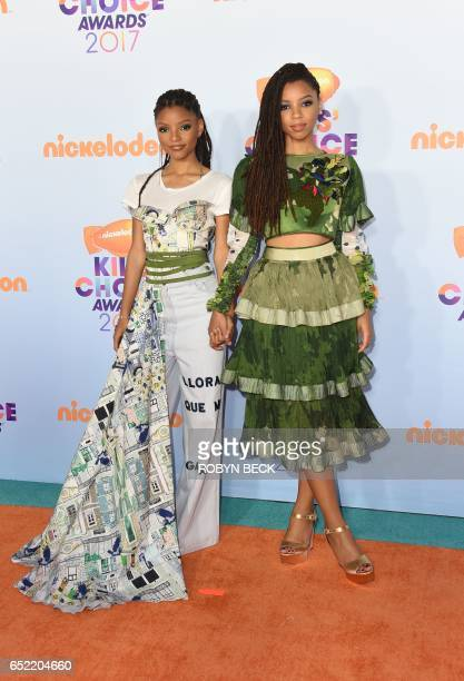 Actors Chloe Bailey and Halle Bailey arrive for the 30th Annual Nickelodeon Kids' Choice Awards March 11 2017 at the Galen Center on the University...
