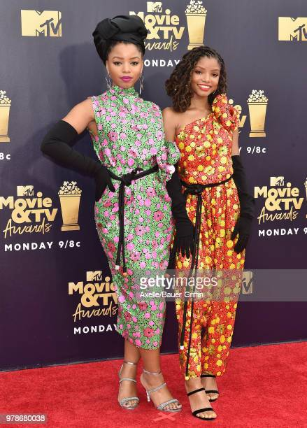 Actors Chloe Bailey and Halle Bailey attend the 2018 MTV Movie And TV Awards at Barker Hangar on June 16 2018 in Santa Monica California