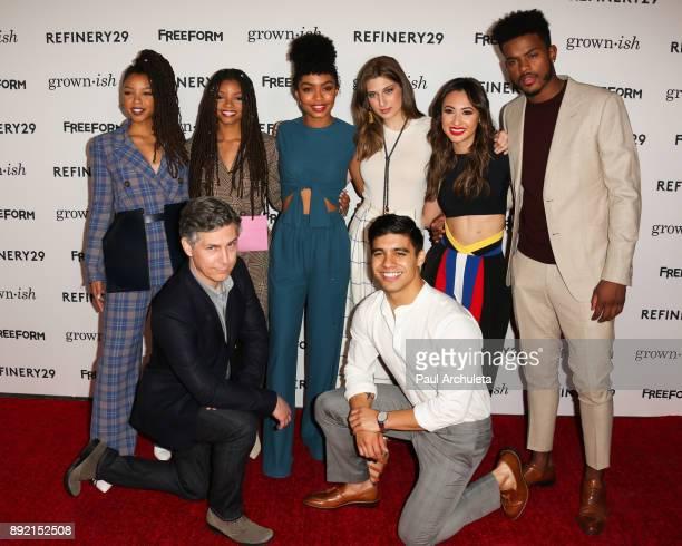 Actors Chloe Bailey Halle Bailey Yara Shahidi Emily Arlook Francia Raisa Trevor Jackson Chris Parnell and Jordan Buhat attend the premiere of ABC's...