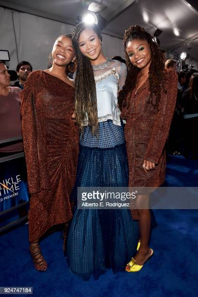 Actors Chloe Bailey Storm Reid and Halle Bailey arrive at the world premiere of Disney's 'A Wrinkle in Time' at the El Capitan Theatre in Hollywood...