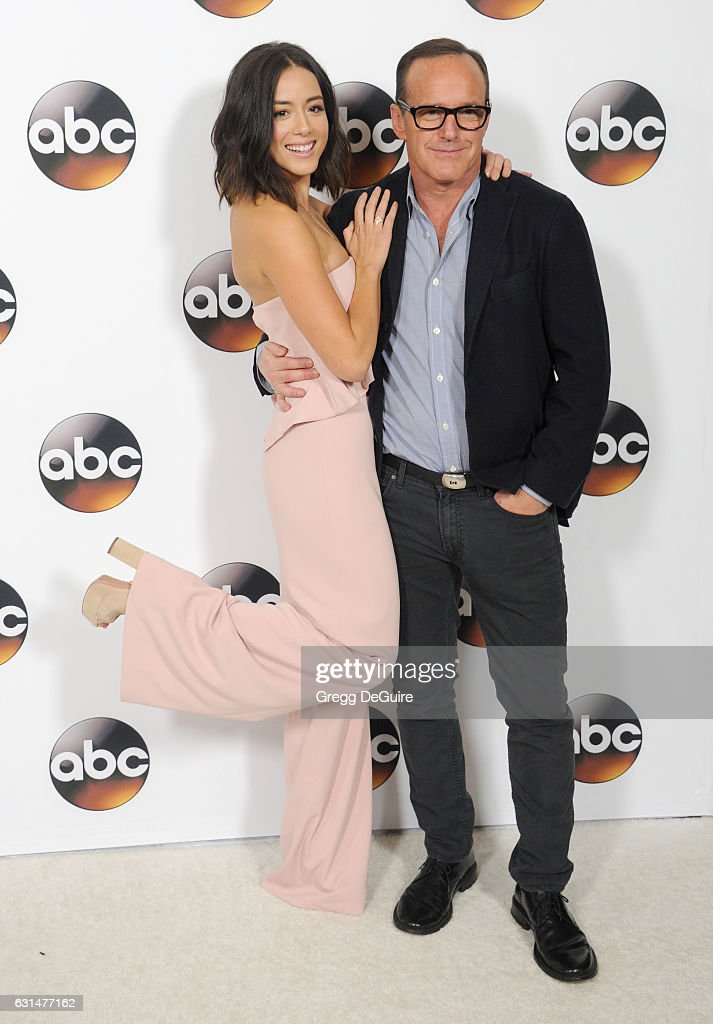 Actors Chloe Bennet and Clark Gregg arrive at the 2017 Winter TCA Tour - Disney/ABC at the Langham Hotel on January 10, 2017 in Pasadena, California.