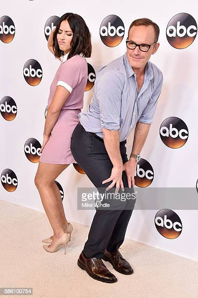 Actors Chloe Bennet and Clark Gregg attend the Disney ABC Television Group TCA Summer Press Tour on August 4 2016 in Beverly Hills California