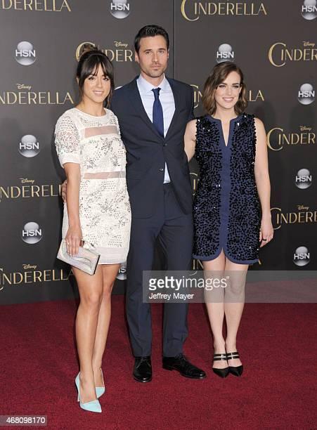 Actors Chloe Bennet, Brett Dalton and Elizabeth Henstridge arrive at the World Premiere of Disney's 'Cinderella' at the El Capitan Theatre on March...