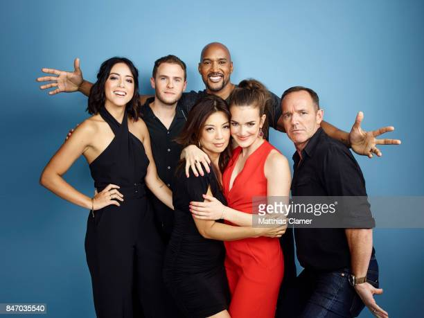 Actors Chloe Bennet Iain De Caestecker MingNa Wen Henry Simmons Elizabeth Henstridge and Clark Gregg from 'Marvel's Agents of SHIELD' are...