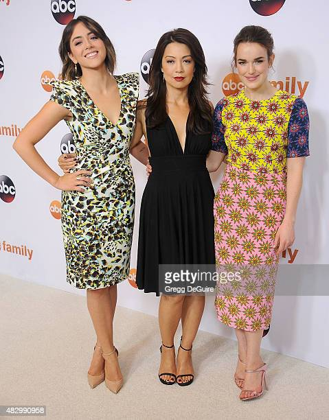 Actors Chloe Bennet, Ming-Na Wen and Elizabeth Henstridge arrive at the Disney ABC Television Group's 2015 TCA Summer Press Tour on August 4, 2015 in...