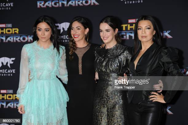 Actors Chloe Bennet Natalia CordovaBuckley Elizabeth Henstridge and MingNa Wen attend the premiere of Disney and Marvel's Thor Ragnarok on October 10...